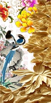 移门 3D 5D 高清大型喷绘壁画 高清图片 玄关 隔断 平开门 PH-214 牡丹  浮雕 小鸟 花朵