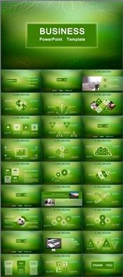 绿色通透时尚清新总结汇报商务模板