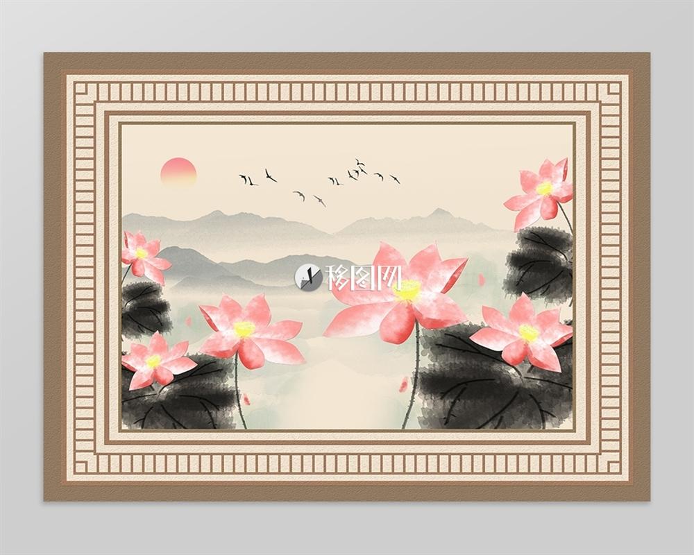 中式水墨山水荷花飞鸟旭日地毯图案