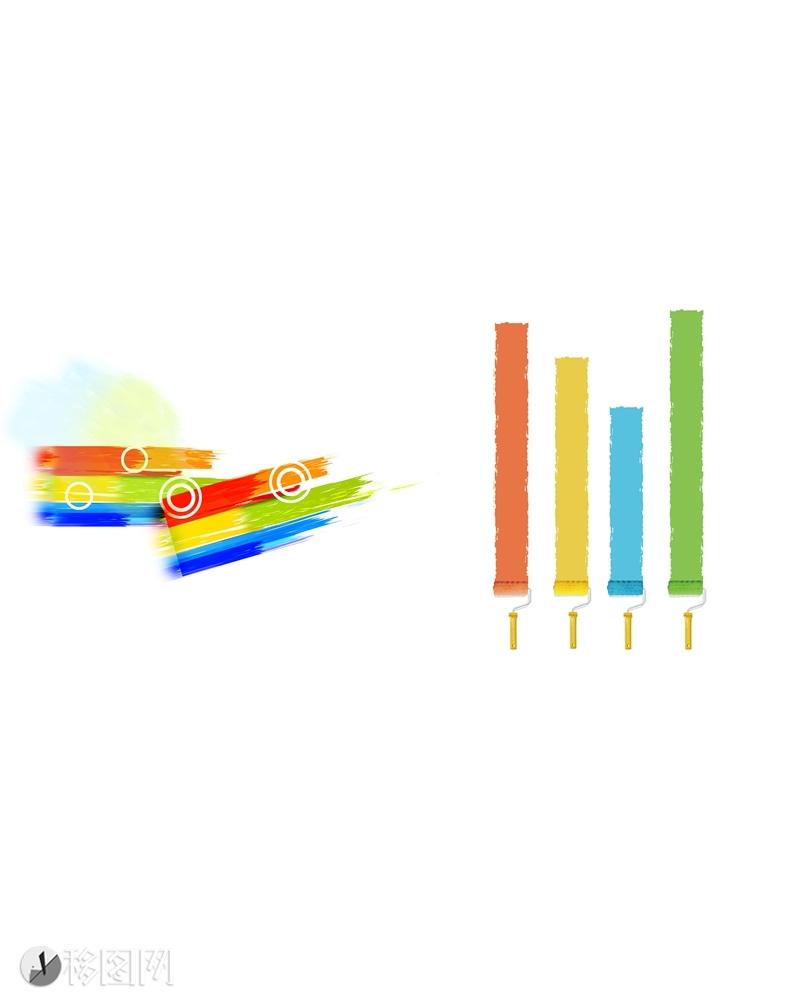 油漆 刷子 色彩 彩色 彩虹 插画 手绘 梦幻 圆 红 黄 绿 蓝 颜色  彩虹