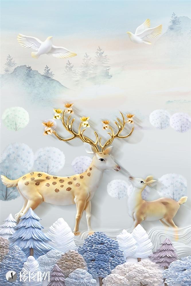 0现代简约浮雕立体麋鹿竖版北欧